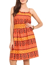 Orange Printed Cotton Slip Dress - By