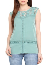 Sea Green Polyester Top With Lace Detail - By