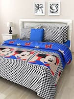Blue Mickey Printed Cotton Double Bedsheet Set -  online shopping for bed sheet sets