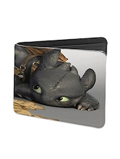 Black Leather Boy With Dragon Leather Wallet - By