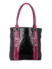 Black Textured Tote Bag - Bags Craze
