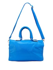 Solid Blue Textured Hand Bag Cum Sling Bag - Bags Craze