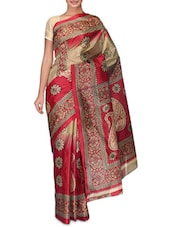 Red And Gold Paisley Printed Art Silk Saree - By