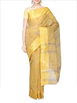 Beige Cotton Tant Handloom Saree