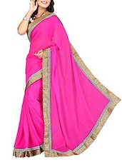 Fuchsia Pink Georgette Saree With Embroidered  Border - By