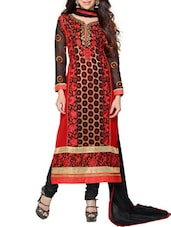 Red & Black Georgette Embroidered Salwar Suit Set - By