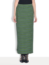 Green Cotton Lycra Printed Ankle Length Skirt - By