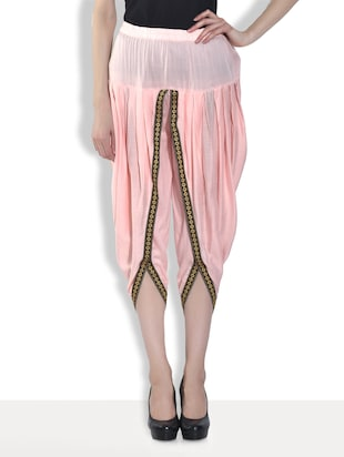 Solid pink cotton dhoti pants