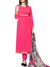 Multi Embroidered Georgette Chudidar Unstitched Dress Material(Pink) - By