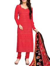 Multi Embroidered Georgette Chudidar Unstitched Dress Material(Red) - By