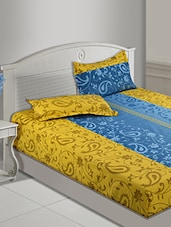 Yellow And Blue Printed Cotton Bedsheet Set - Zyne