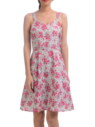 pink Floral Printed A-line Dress