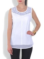 White Cotton Solid Sleeveless Top - By