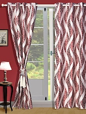Red And White Polyester Curtain - Zyne