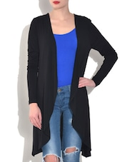 Black Viscose Woolen Shrug - By