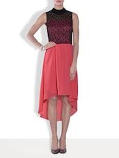 Black And Dark Peach Asymmetrical Polyester Dress - By