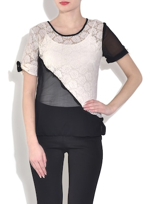Black and white short sleeved net top