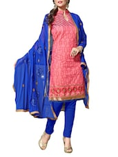 Embroidered Pink And Royal Blue Chanderi Dress Material - By