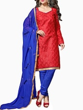 Embroidered Crimson And Royal Blue Chanderi Dress Material - By