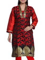 Red And Black Jacquard Printed Kurta - By
