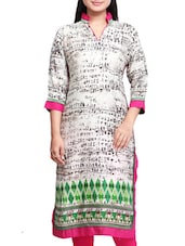 Offwhite And Black Cotton Printed Kurta - By - 9559396