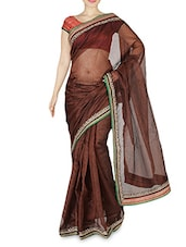 Brown Net Embroidered Sari - By