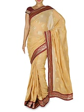 Beige Chiffon Embroidered Sari - By