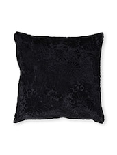 Solid Black Floral Cotton Cushion Cover ( Set Of 2 ) - By