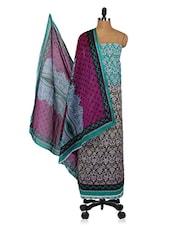 Ethnic Floral Print Unstitched Cotton Suit Set - Shree Ganesh