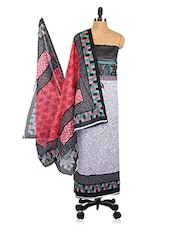 Striped Yoke Floral Print Unstitched Cotton Suit Set - Shree Ganesh
