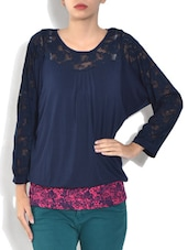 Navy Blue Viscose Blend Full Sleeve Top - By