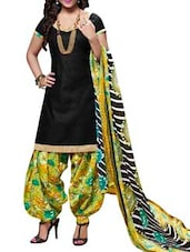 Black Suit Set With Printed Dupatta - By