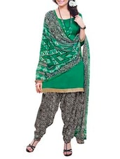 Green Suit Set With Printed Dupatta - By