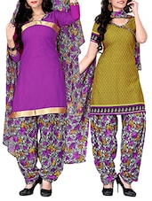 Mehndi Green And Purple Printed Suit Set - By