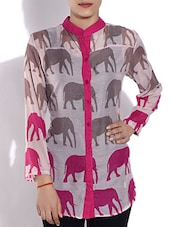 Fuchsia And Brown Printed Cotton Shirt - By - 9561220