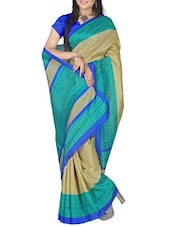 Printed Beige And Blue Bhagalpuri Silk Saree - By