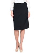 Black Poly Viscose And Lycra  Pencil Skirt - By