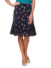 Blue Poly Georgette Printed A Line Skirt - By