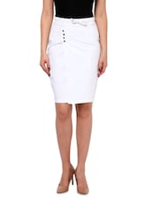 White Cotton, Satin And Lycra  Pencil Skirt - By