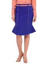 Purple Lycra  Pencil Skirt - By