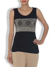 Black Cotton Knit Printed Sleeveless Top - By