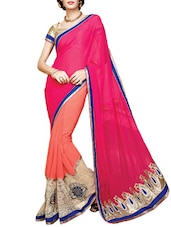 Pink Faux Georgette Embroidered Saree - By