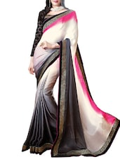 White Satin, Georgette And  Jacquard Lace Worked Saree - By