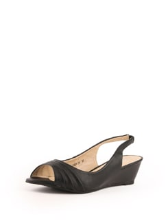Black Faux Leather Sling Black Sandals - Solo Voga