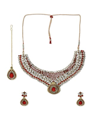 red stones embellished kundan jewellery set