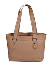 Solid Beige Zippered Leatherette Handbag - By