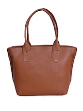 Solid Tan Zippered Leatherette Handbag - By