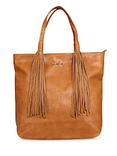 Brown Fringed Faux Leather Shoulder Bag - By