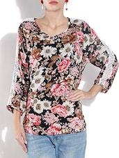 Multicolored Floral Printed Georgette Top - By