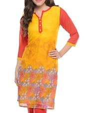 Yellow Floral Printed Georgette Kurta - Jainish